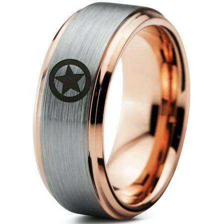 Tungsten Astronomical Star Circle Emblem Band Ring 8mm Men Women Comfort Fit 18k Rose Gold Step Bevel Edge Brushed Polished