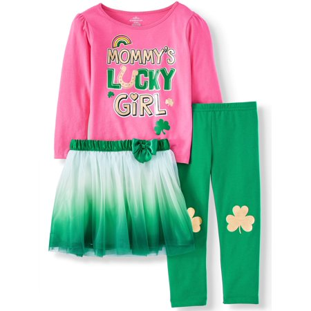 St. Patrick's Day Long Sleeve T-Shirt, Leggings, & Tutu, 3pc Outfit Set (Toddler Girls)