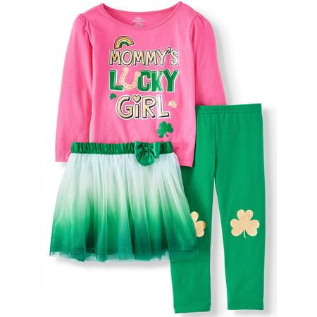 Garanimals St. Patrick's Day Long Sleeve T-Shirt, Leggings, & Tutu, 3pc Outfit Set (Toddler Girls)