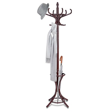 Gymax Wood Standing Hat Coat Rack Jacket Bag Hanger Tree 12 Hooks w/ Umbrella