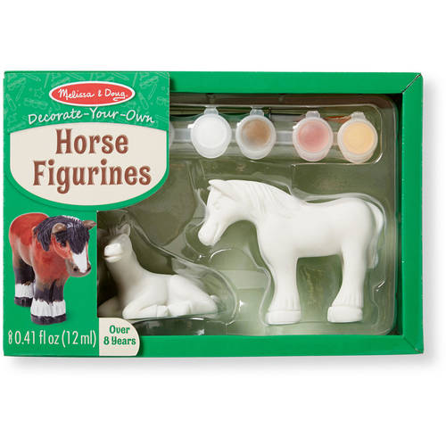 Melissa & Doug Decorate-Your-Own Horse Figurines Craft Kit: 2 Horses to Paint