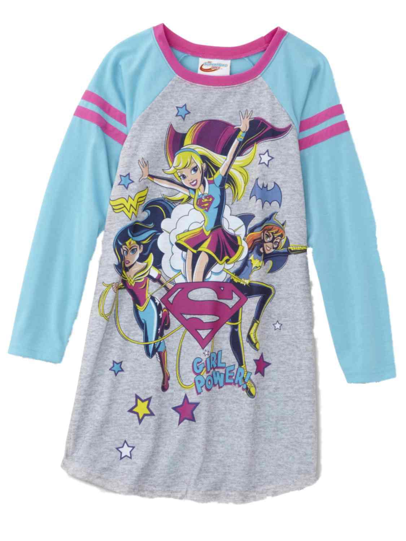 DC Super Hero Girls Grey Super Girl Wonder Woman Pajama Sleep Dress PJs
