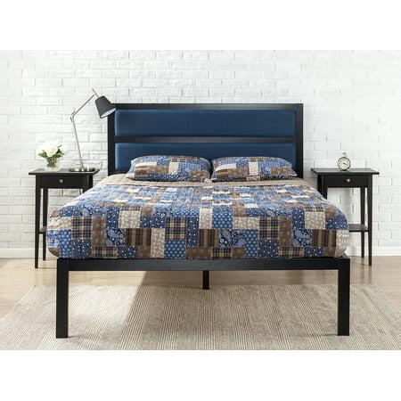 zinus 16 platform full bed with tufted navy panel headboard. Black Bedroom Furniture Sets. Home Design Ideas