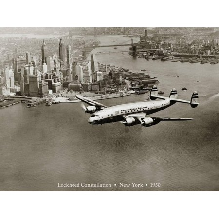 Lockheed Constellation, New York 1950 Passenger Jet Plane Aviation Sepia Vintage Photo Print Wall Art By Clyde Sunderland
