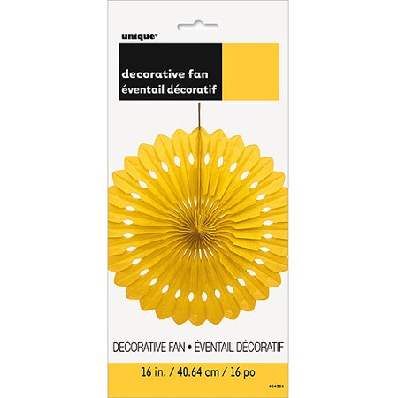 Tissue Paper Fan Decoration, 16 in, Yellow, 1ct