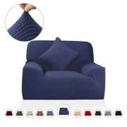 Piccocasa Jacquard Polyester Spandex Strech Slipcover for 1-Seater Chair, Navy Blue