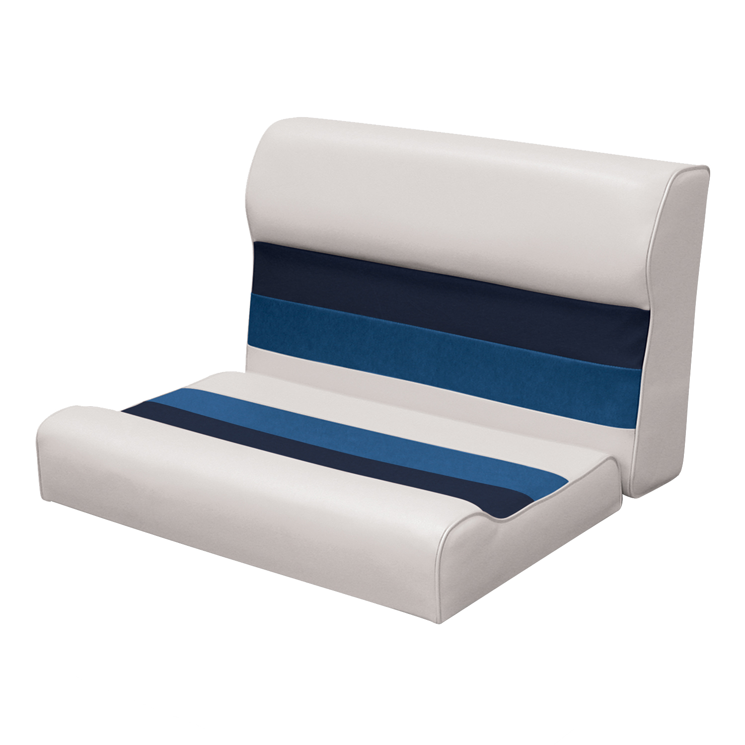 """Wise 8WD95-1008 Deluxe Series Pontoon 28"""" Bench Seat and Backrest Cushion Set Only, Color: White/Navy/Blue"""