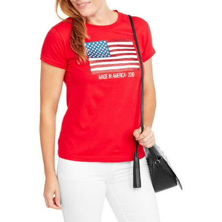 9e6594f9f SEASONAL - Women's 2016 American Flag T-Shirt - Walmart.com