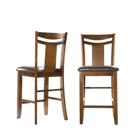 Weston Home Counter Height Chair , Set of 2, Dark Brown Chippendale Bar Side Chair