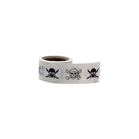 White Skull and Crossbones Circle Dot Stickers, 3/4 Inch Round, 100 Labels on a Roll - Skull And Crossbones Stickers