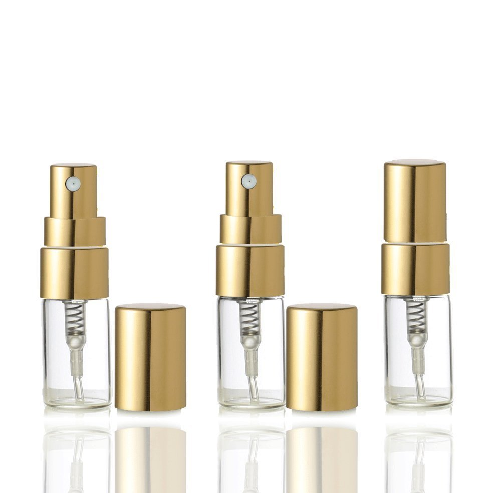 Grand Parfums Empty 3ml Glass Fine Mist Atomizer Bottles with Gold or Silver Caps Refillable  Spray Bottles (5 Atomizers / Gold Caps)