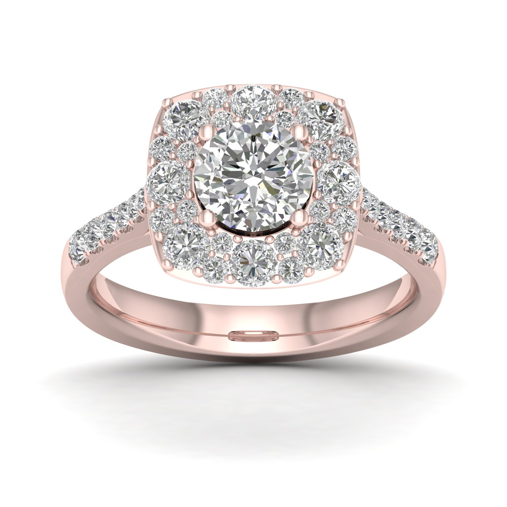 Imperial 1 3 4Ct TDW Diamond 14k Rose Gold Halo Engagement Ring by Imperial Jewels
