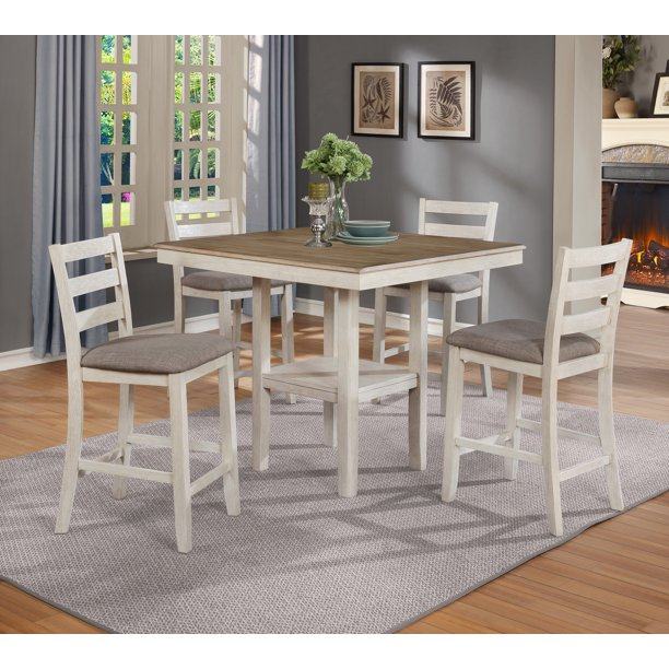 Crown Mark White Tahoe 5-Pk Counter Height Dining Set