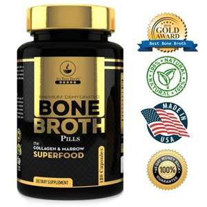 Bone Broth Superfood Capsules (1 Bottle|180ct.) Organic Dehydrated Grassfed Beef + Chicken Blend. 30 Day Supply. No Cooking or Mixing; Au Bon Broth Protein Powder Pills