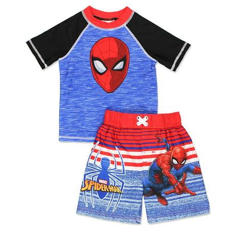 4bba9087e73a9 Marvel/Spider-Man - Spider-Man Toddler Boys' Swim Trunks and Rash Guard Set  - Walmart.com