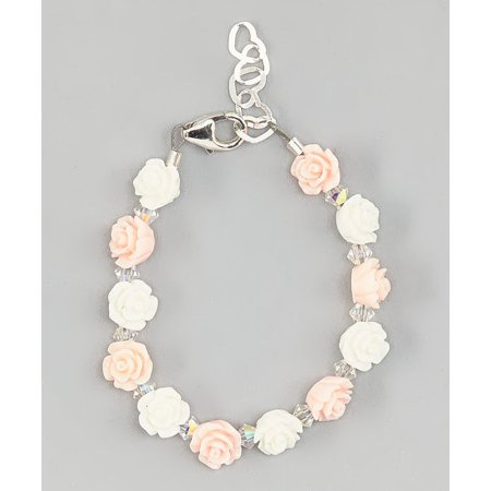 Bead Baby Bracelet - Pink and White Mini Flower Beads with Clear Swarovski Crystals Bracelet