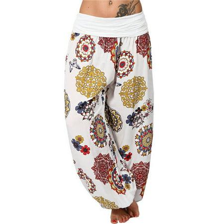 UKAP Summer Pants For Women Floral Loose Boho Harem Wide Leg Pants Palazzo Yoga Leisure Trouser
