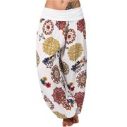 UKAP Summer Pants For Women Floral Loose Boho Harem Wide Leg Pants Palazzo Yoga Leisure Trouser