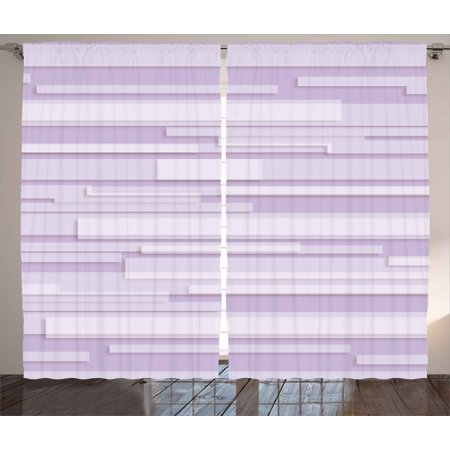 Contemporary Curtains Drapes (Modern Decor Curtains 2 Panels Set, Contemporary Artistic Stone like Linear Band Motif in Pastel Tones Artwork, Window Drapes for Living Room Bedroom, 108W X 84L Inches, Lilac Lavender, by Ambesonne )