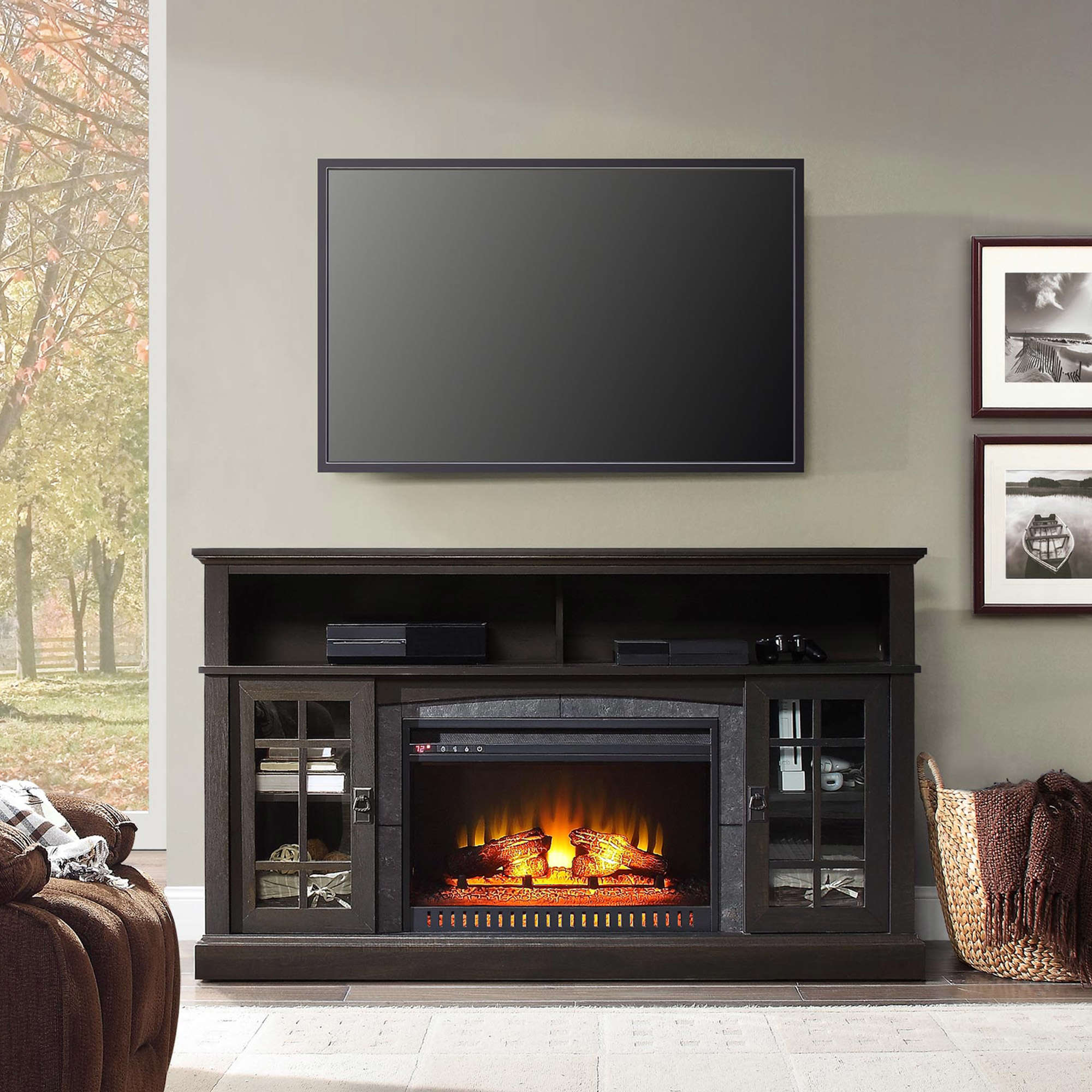 """Whalen Media Fireplace Console for TVs up to 70"""" Espresso"""
