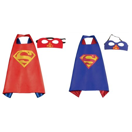 Blue & Red Superman Costumes - 2 Capes, 2 Masks with Gift Box by Superheroes](Blue Cape Costume)