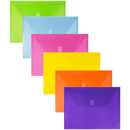 JAM Paper Plastic Envelopes with Hook & Loop Closure, Letter Booklet, 9 3/4 x 13, Assorted Colors, 6/Pack
