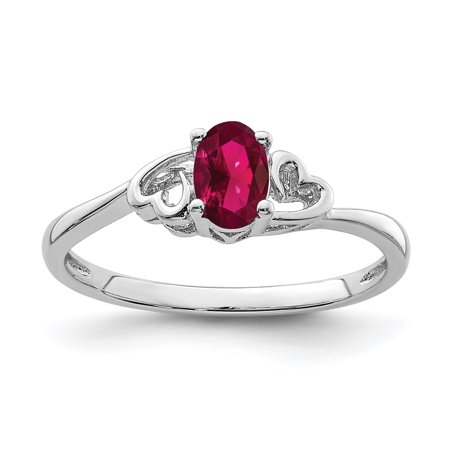 925 Sterling Silver Created Red Ruby Band Ring Size 5.00 Birthstone July Gemstone Blood Red Ruby Gem