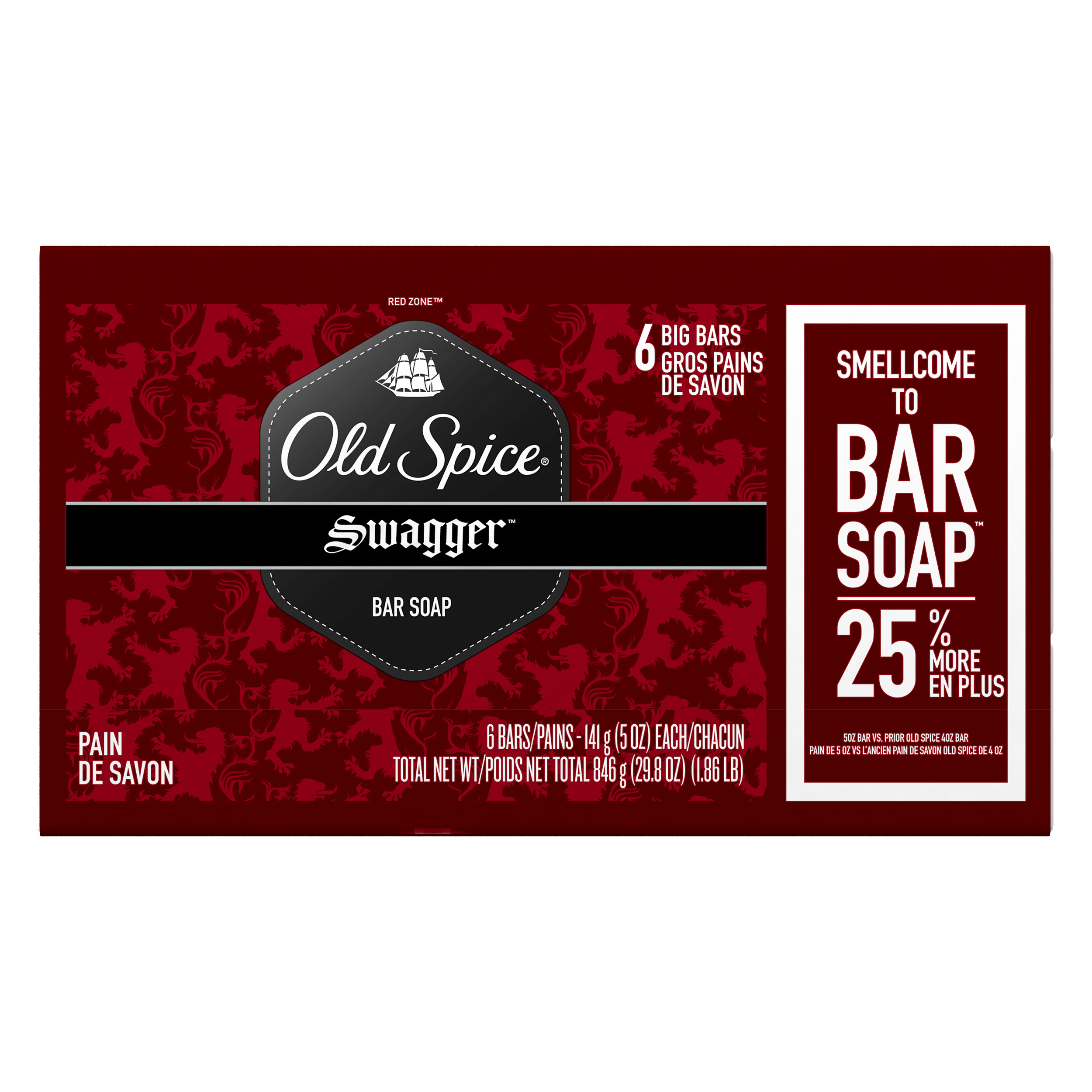 Old Spice Red Zone Swagger Scent Mens Bar Soap 6 Bar 5 oz