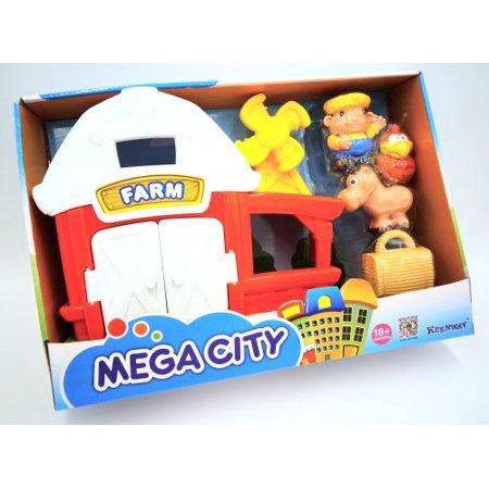 Play Farm (Farm House Red Barn Mega City Jet Airplane Play Set )