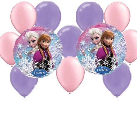 Frozen Party Balloons (12 pc Disney Frozen Party Balloons: 2 Mylar 5 Pink 5 Purple)