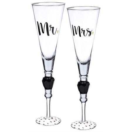 Champagne Flute with Jewel Stem, Set of 2, Mr. and Mrs.](Mr And Mrs Champagne Flutes)