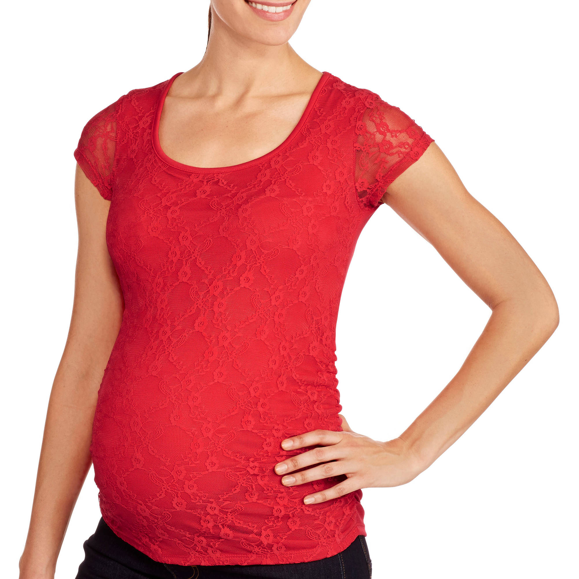 Maternity Lace Tee with Flattering Side Ruching