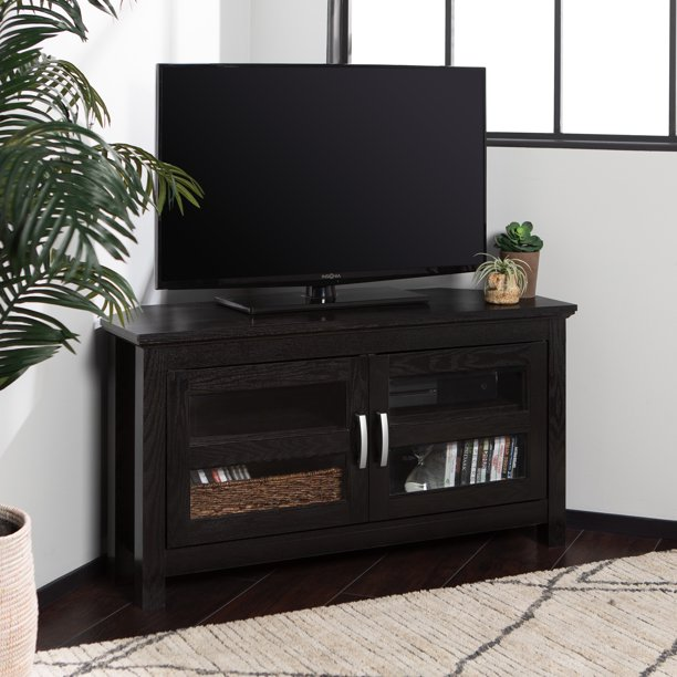Walker Edison Black Wood Corner TV Stand for TVs up to 48""