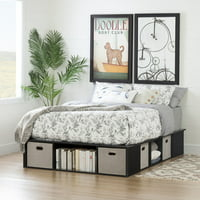 South Shore Flexible Black Oak Platform Bed with Storage and Baskets, Multiple Sizes