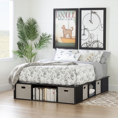 South Shore Flexible Black Oak Platform Bed with Storage and Baskets, Multiple Sizes Dark Oak Panel Bed