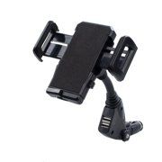 3 in 1 Dual USB Ports Car Charger Cell Phone GPS Mount Holder Adjusting Width 45-110mm