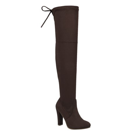 Women's Over Knee High Block Chunky Heel Thigh Heel Faux Suede Boots (FREE SHIPPING) (Halloween Thigh High Boots)