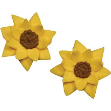 Sunflower Cake Decorations (Sunflower Mini Royal Icing Cake/Cupcake Decorations 12)