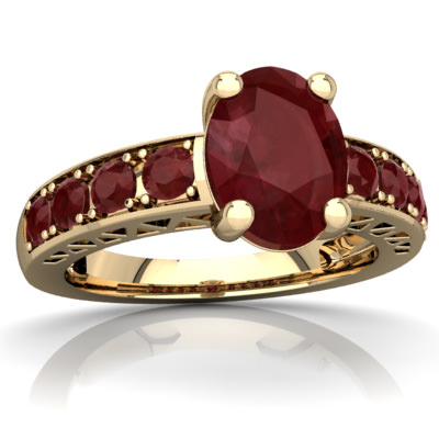 Ruby Art Deco Ring in 14K Yellow Gold by