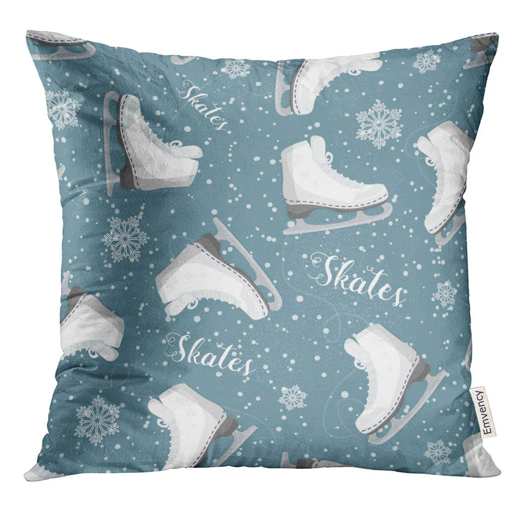 CMFUN Blue Figure with Curly Skates on The Ice Snowflakes Pattern Colorful Hockey Pillow Case 20x20 Inches Pillowcase