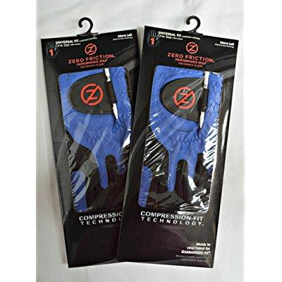 2 zero friction men's golf gloves, one size, left hand, blue