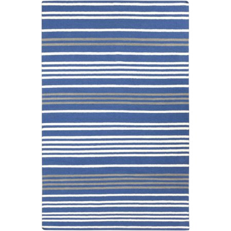 2' x 3' Molti Colpi Pure Sky Blue and White Hand Woven Wool Area Throw Rug
