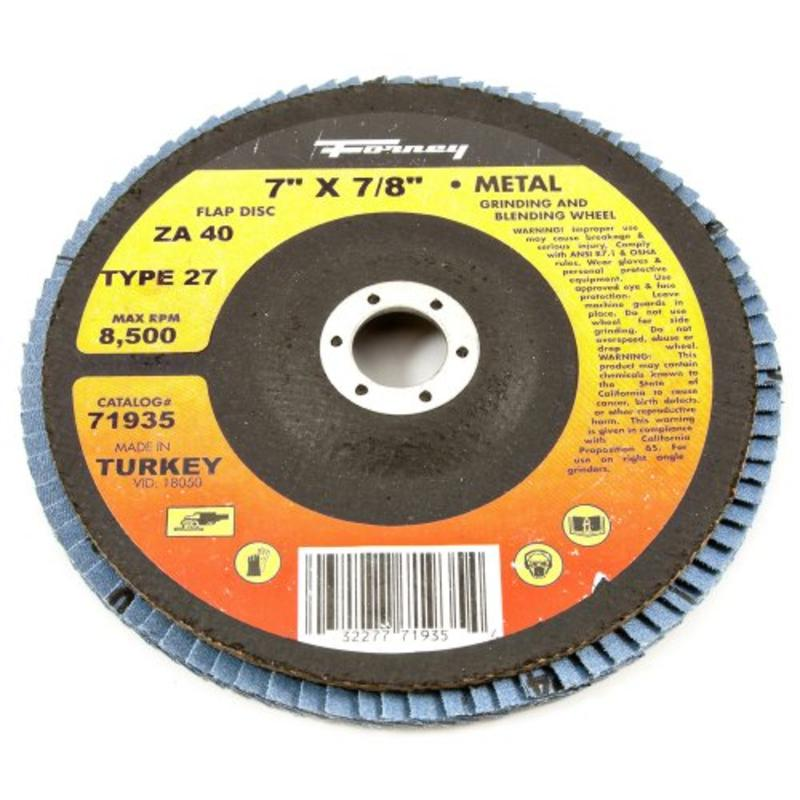 "Flap Disc, Type 27 Blue Zirconia With 7/8"" Arbor, 40-Grit, 7"" Forney 71935"