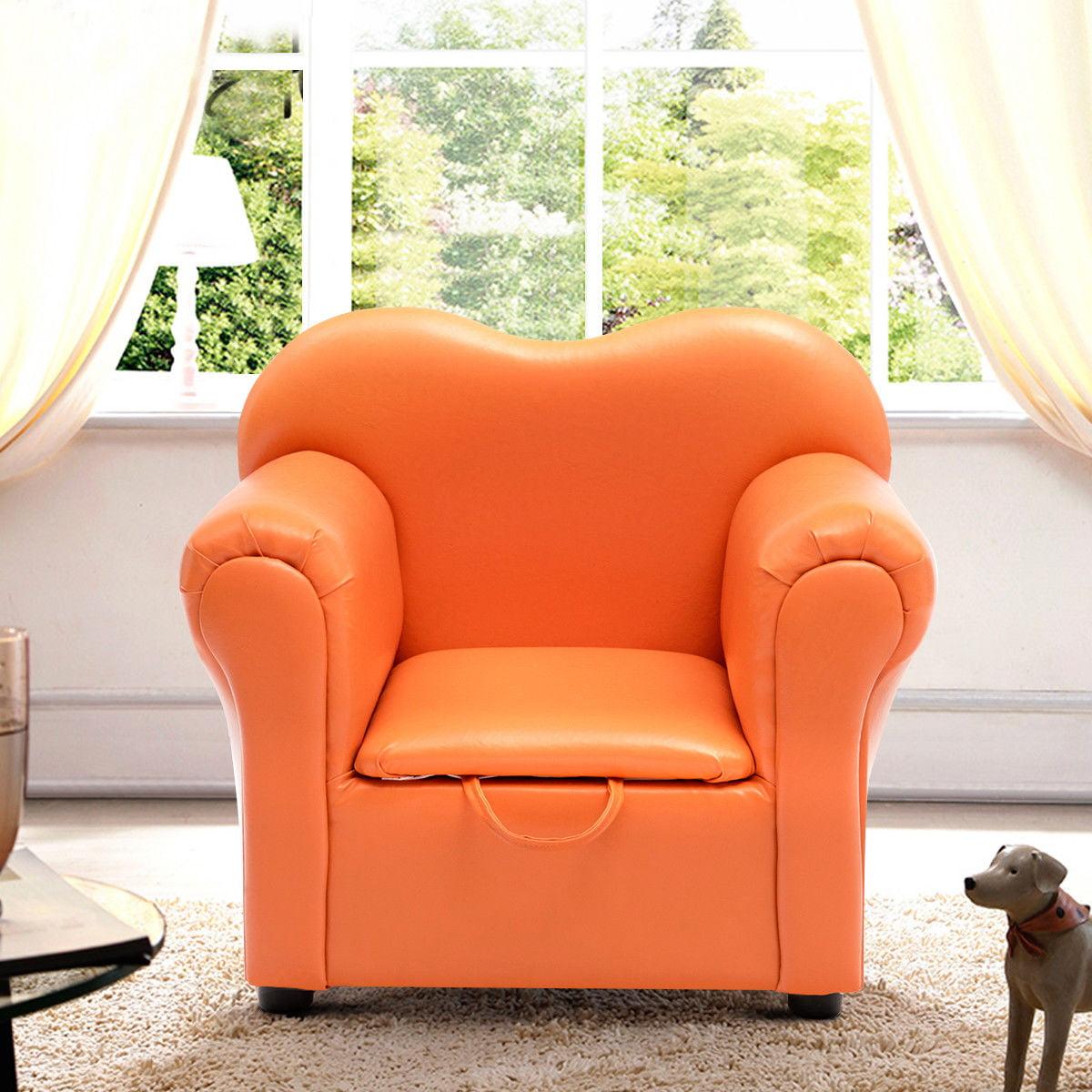 Costway Kids Sofa Armrest Chair Couch Children Birthday Gift Furniture W/ Storage Orange