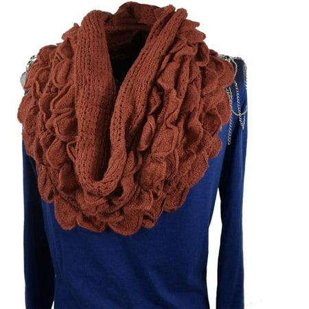 (Loop Scarf Soft Infinity Warm Winter Ruffle Circle Scarf Lady Stretchy Knitted Ruffle Loop Scarf Fashion Shawl Girl Elegant Neck Warmer, Brick)