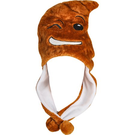 Child's Winking Poop Emoji Emoticon Pom Pom Hat Costume Accessory