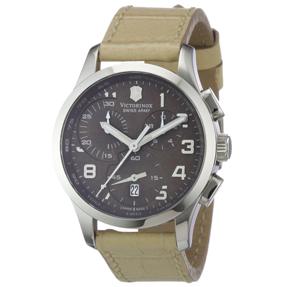 Swiss Army 241320 Women's Classic Alliance Chronograph Brown MOP Dial Beige Leather Strap Watch
