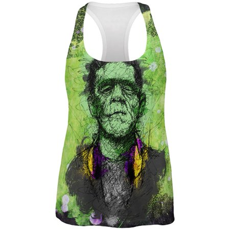 Halloween Frankenstein Raver Horror Movie Monster All Over Womens Work Out Tank Top - Halloween Ideas For Work
