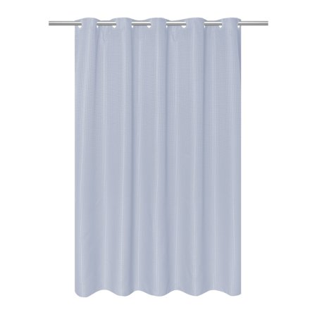 EZ-ON® Waffle Weave Fabric Shower Curtain with built in snap off liner in color Spa (Weaver Snap)