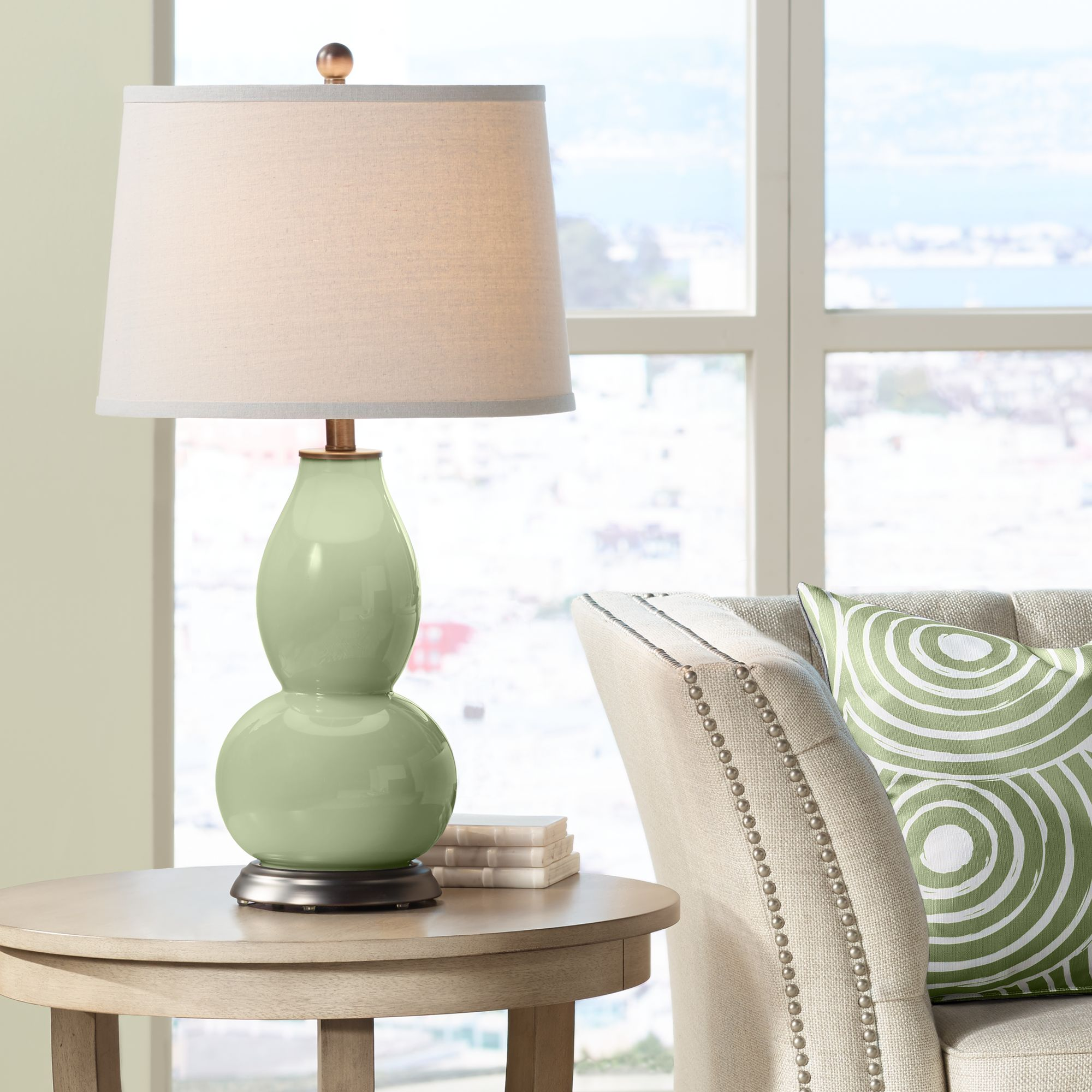 Color Plus Majolica Green Double Gourd Table Lamp Walmart Com